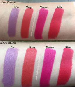 swatches rossetti nouveau cosmetics lilac, tango, summer, ruby